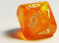 Orange 10 sided die